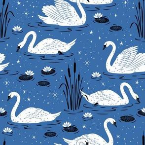 Summer Swan - blue - medium scale