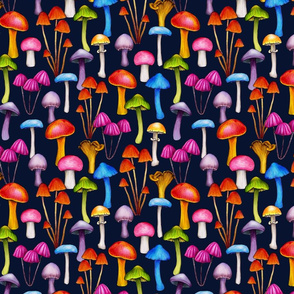 Colorful Mushrooms in Bright, Happy Hues
