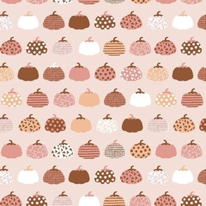 Sweet rows of pumpkins garden halloween and autumn fruit design nursery peach pink pale rust SMALL