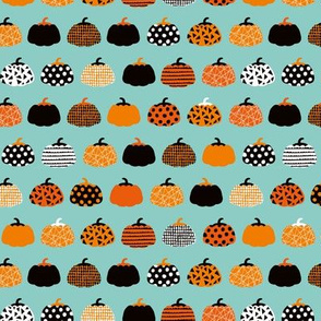 Sweet fall inky texture pumpkin picking autumn garden halloween gourds print blue orange SMALL