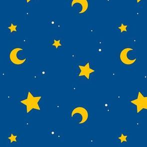 Night Sky Moon and Stars