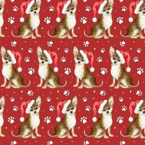 Christmas Chihuahua Dogs on lipstick red - medium scale