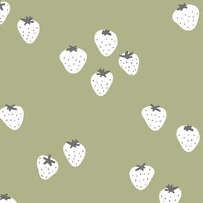 The minimalist strawberry boho fields Scandinavian fruit garden soft olive green