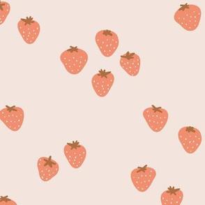The minimalist strawberry boho fields Scandinavian fruit garden seventies coral orange