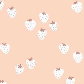 The minimalist strawberry boho fields Scandinavian fruit garden neutral beige apricot white