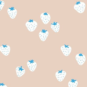 The minimalist strawberry boho fields Scandinavian fruit garden neutral beige blue white