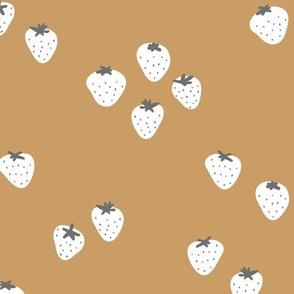 The minimalist strawberry boho fields Scandinavian fruit garden neutral golden cinnamon white