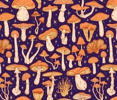 Deadly Mushrooms Orange on Blue