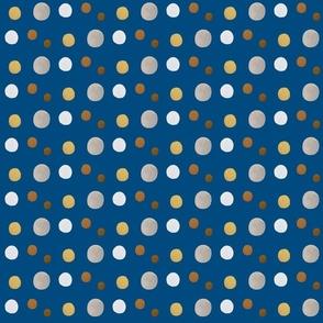 daisy dots blue field