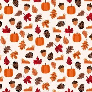 MINI autumn leaves fabric - pumpkin pie thanksgiving design - cream