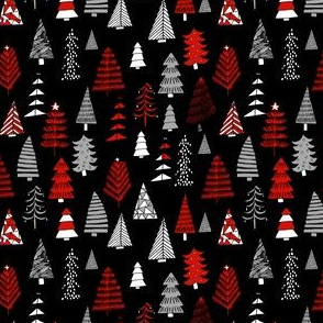 SMALL Christmas trees holiday fabric pattern black