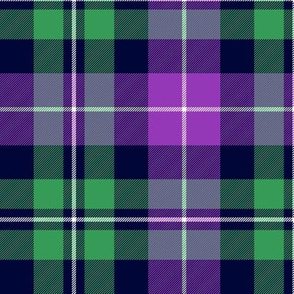 "MacNeil tartan, 6"" greyed green and purple"