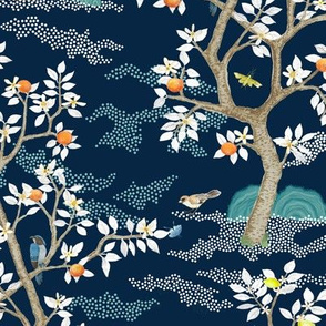 SMALL MULTI CITRUS GROVE NAVY AND WHITES