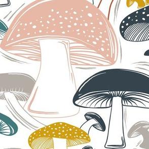 Mushroom Field Block Print White Multi Large Scale