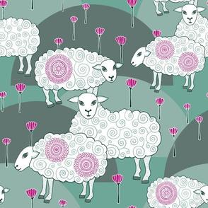 "Sheep (12"") - jade/pink"