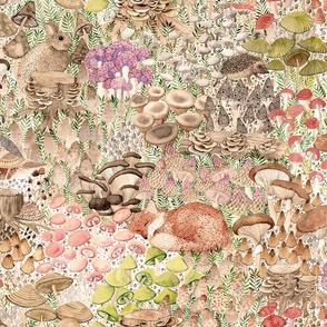 Mushroom Garden in warm tones, fox, quail, mouse, hedgehog, hare, bunny, frog