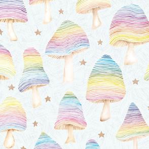 Watercolor Rainbow Mushrooms - large scale