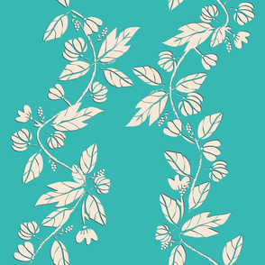 Summer's Cool Vines - Cream /Teal