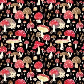 Autumn woodland mushrooms