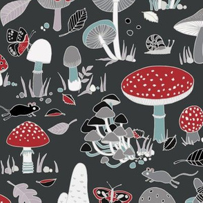 70s mushrooms - retro red and grey