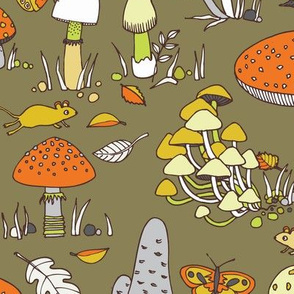 70s mushrooms - retro orange, yellow and brown