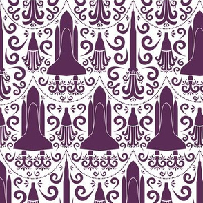 Rocket Science Damask (Purple and White)
