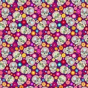 Sugar Skulls on Purple - SMALL