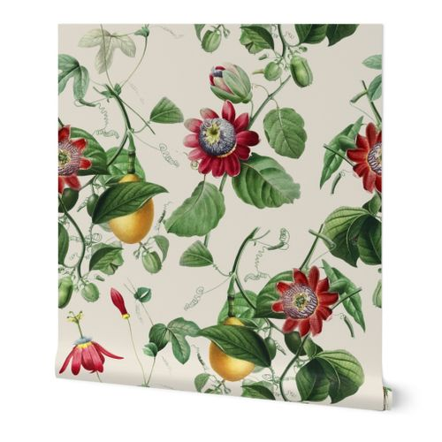 Vines with Exotic Flowers - Large - Off White