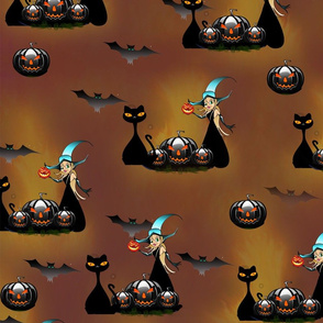 Halloween pumpkins cats and witches