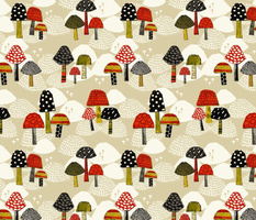 merry mushrooms red black large scale