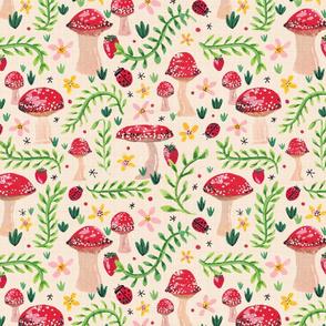 Overgrown Mushroom Garden // a delicious adventure through the vines // ladybugs, strawberries, botanicals, flowers, floral, polka dot, toadstools, magical © ZirkusDesign