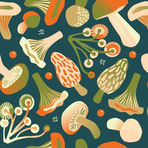 mushrooms | orange green