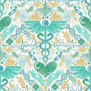 Health and wellbeing, doctor and nurse, medicine, green orange