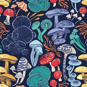Mystical fungi // normal scale // midnight blue background multicoloured wild mushrooms