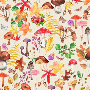 Watercolor Mushrooms and Leaves With Cream Texture