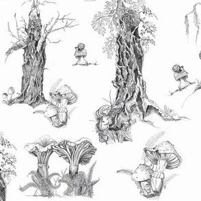 Trees and Mushrooms toile