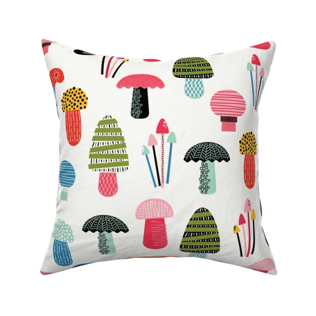 Catalan Throw Pillow featuring Happy Mushrooms by twigged