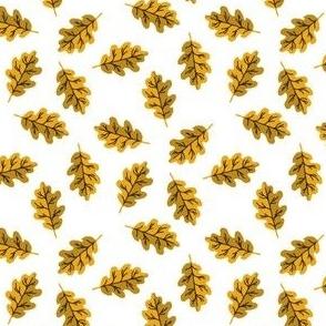 SMALL oak leaf fabric - autumn leaves fabric - yellow