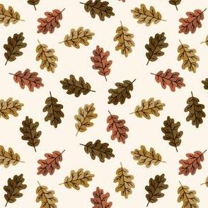 SMALL oak leaf fabric - autumn leaves fabric - multi cream