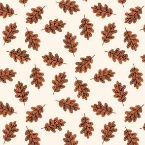 SMALL - oak leaf fabric - autumn leaves fabric - copper