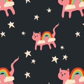 Pink Rainbow Cats in Space