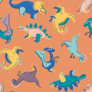 Colorful Dinosaurs Small Scale for Face Mask © ZirkusDesign // Dino Einsteins // T-Rex, Stegosaurus, Triceratops, Pterodactyl, Spinosaurus, Tyrannosaurus // Paleontology, Chemistry, Physics, Math, Algebra, Calculus, Astronomy, Biology, Anatomy, Axes, Axis