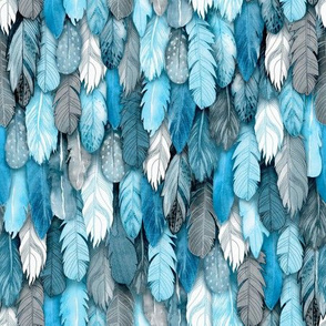 Owl Feathers Blue Small