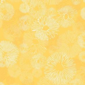 mushrooms - stylized wild mushrooms - yellow