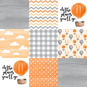 Hot Air Balloon//Oh the places you'll go//Orange&Grey - Wholecloth Cheater Quilt