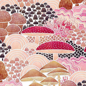 Mushrooms Field Large Scale- Home Decor-Wallpaper