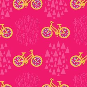 Scandinavian Outdoor Adventure Bikes - Hot Pink + Lemon Yellow // Cycling Travel in the Great White North // Woodland Mountain Explorers © ZirkusDesign