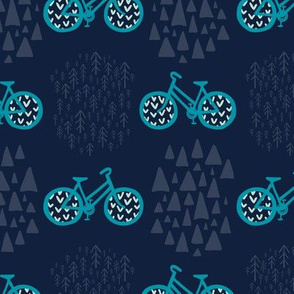 Scandinavian Outdoor Adventure Bikes - Navy Blue + Turquoise // Cycling Travel in the Great White North // Woodland Mountain Explorers © ZirkusDesign
