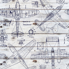 Airplane Patent Drawings on wood - large scale