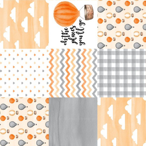 Hot Air Balloon//Oh the places you'll go//Orange&Grey - Wholecloth Cheater Quilt - Rotated